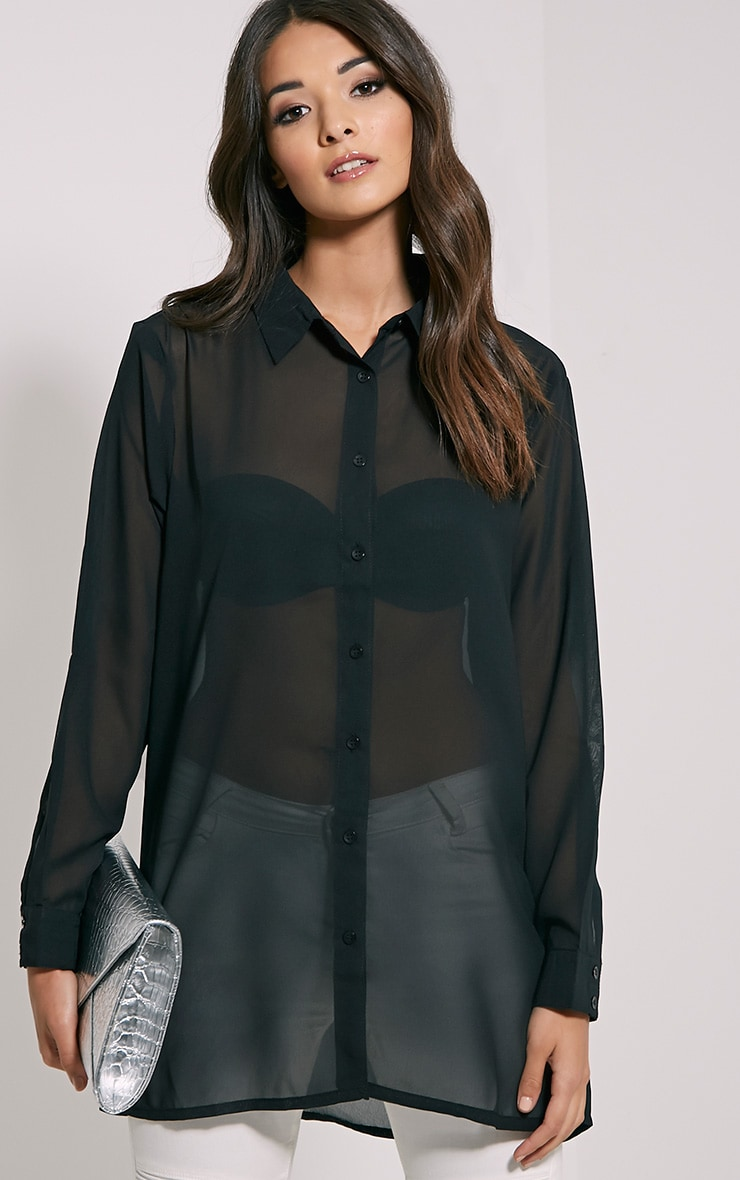 Daniela Black Chiffon Shirt 1