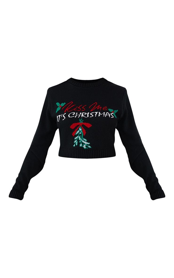 Black Kiss Me Its Christmas Cropped Christmas Sweater 5