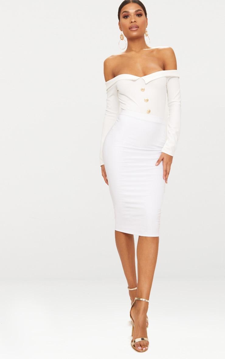 White Button Front Tux Detail Long Sleeve Thong Bodysuit  5