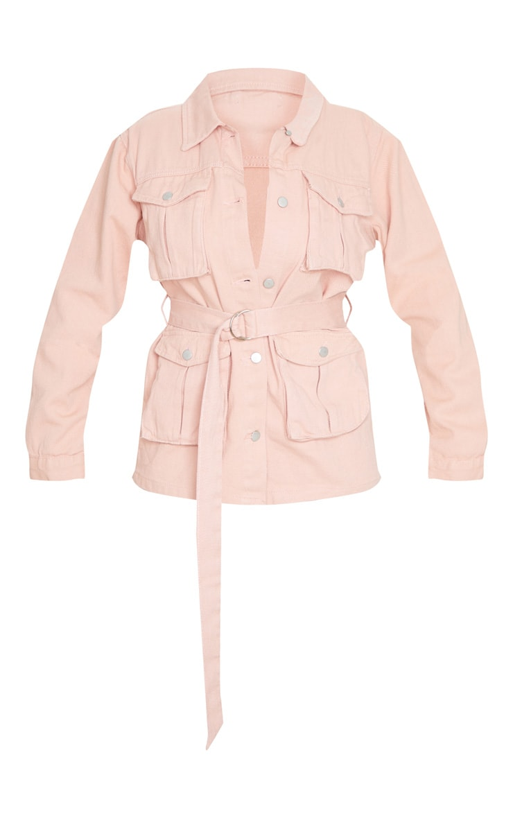 Peach Belted Cargo Denim Jacket 5