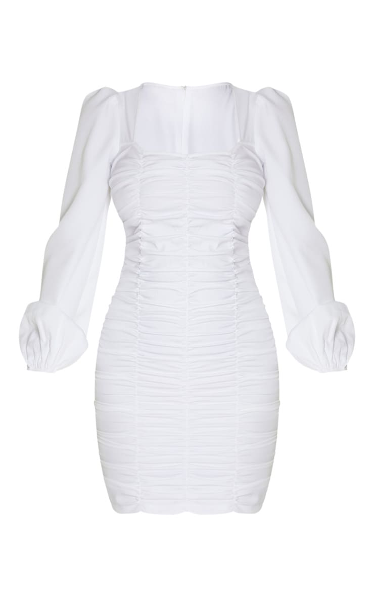 Tall White Ruched Long Sleeve Dress 3