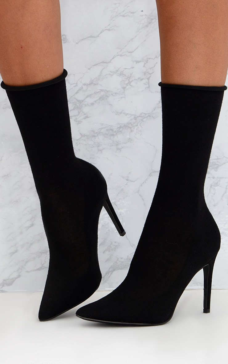 Black Knitted Sock Boots 2