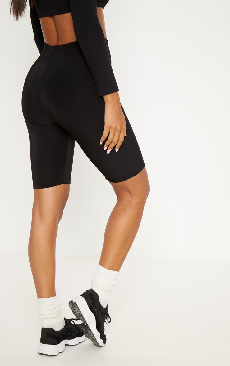 Black Slinky Longline Cycle Short 3