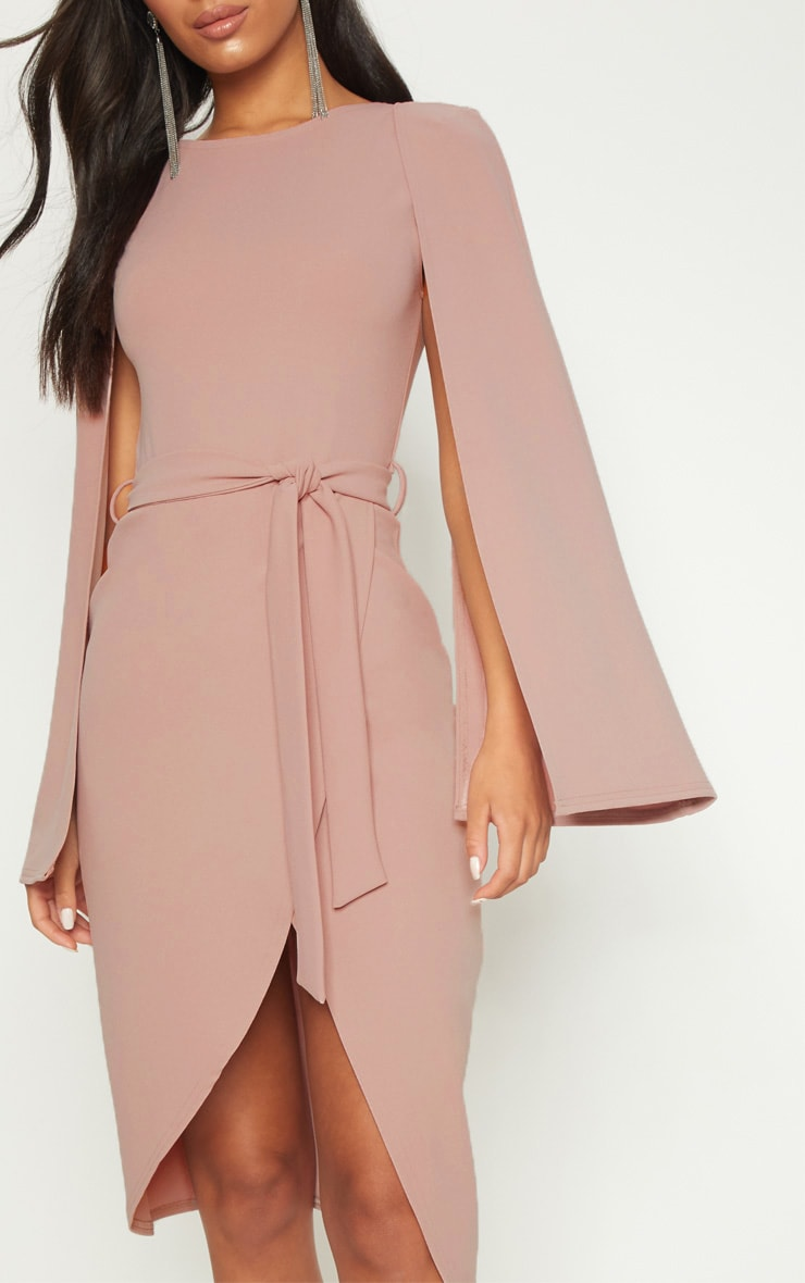 Dusty Pink Cape Style Wrap Midi Dress 4