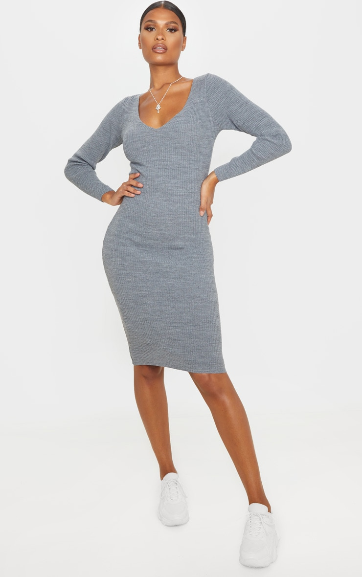 Grey V Neck Knitted Midi Dress 1