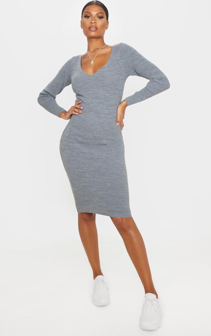 Grey V Neck Knitted Midi Dress