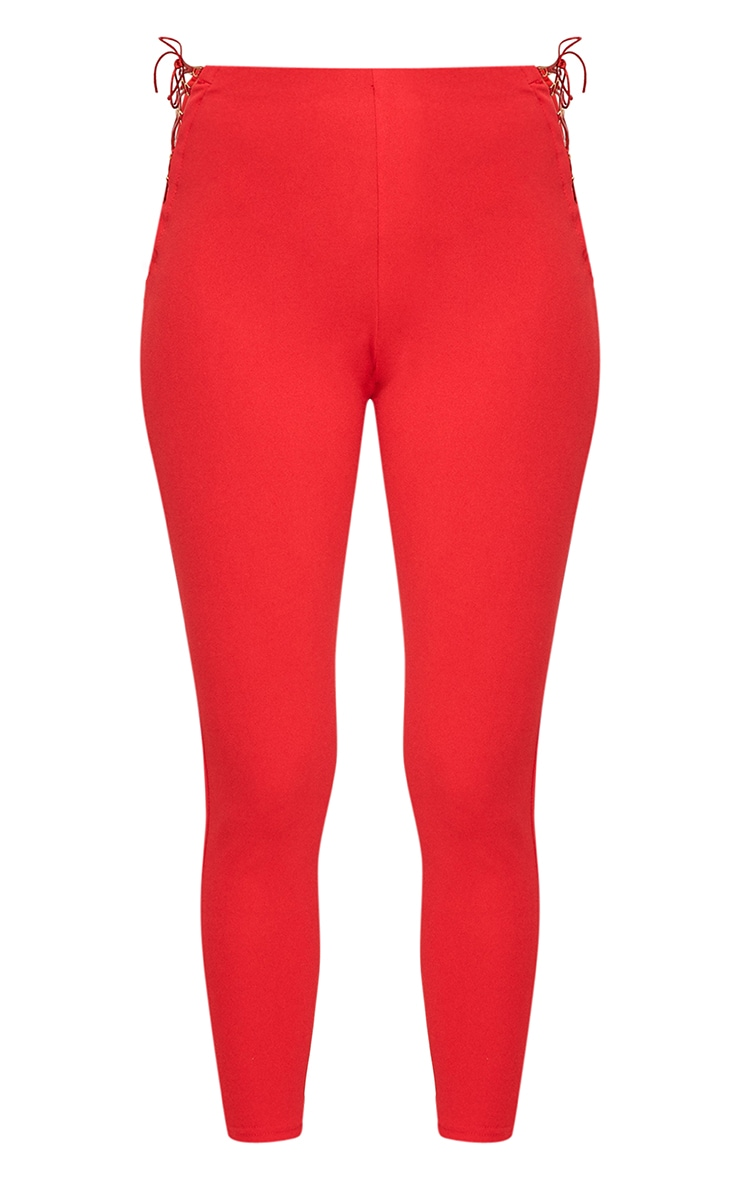 Red Lace Up Insert Skinny Trousers 3