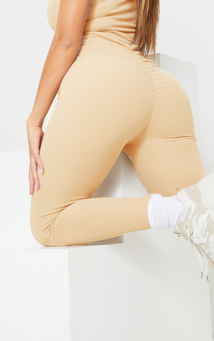 Shape Sand Textured Rib Ruched Bum Leggings 4