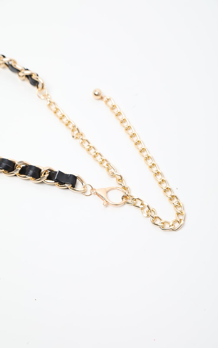 Gold With Black PU Chain Belt 3