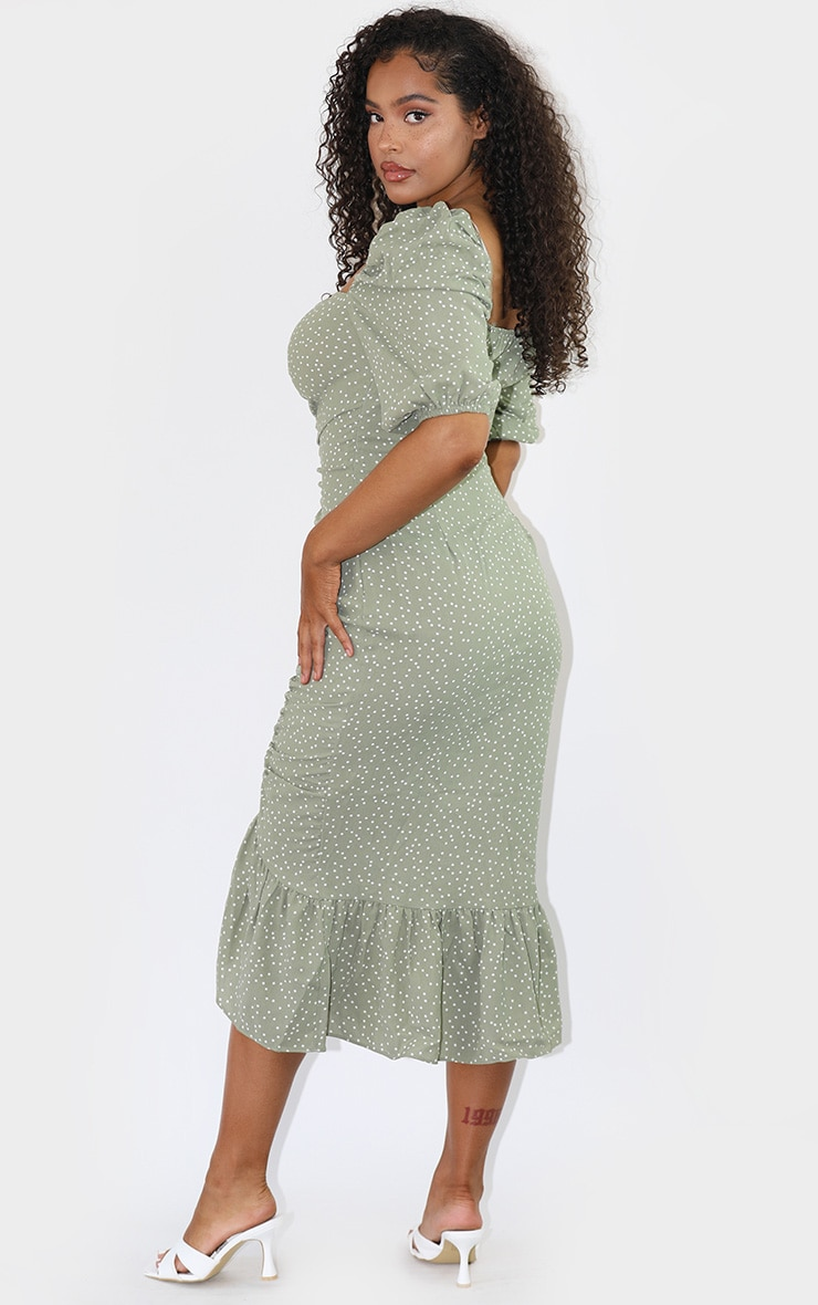 Sage Green Polka Dot Ruched Front Frill Hem Midi Dress 2