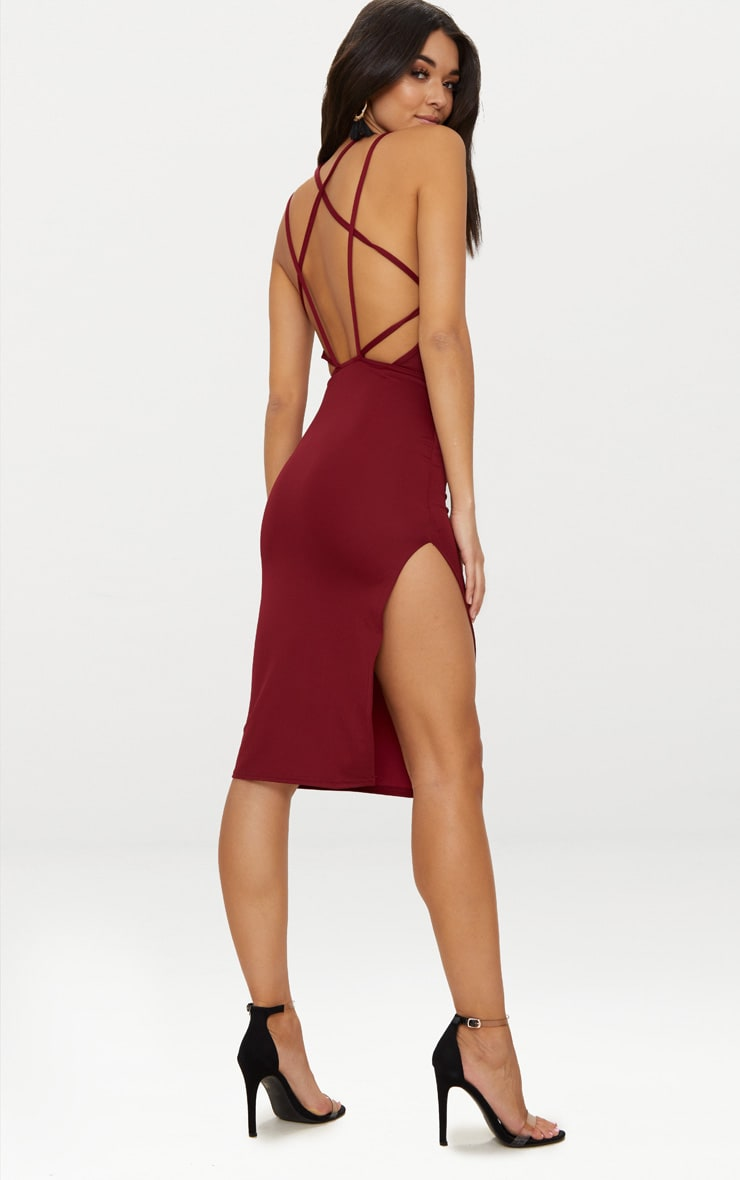 Deep Berry High Neck Extreme Strappy Back Choker Detail Midi Dress 1