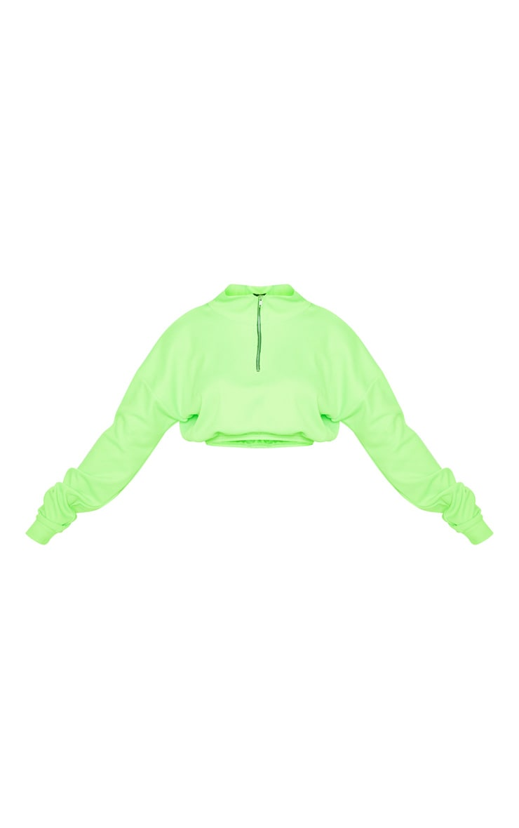 Neon Lime Rib Zip Front Long Sleeve Sweater 4
