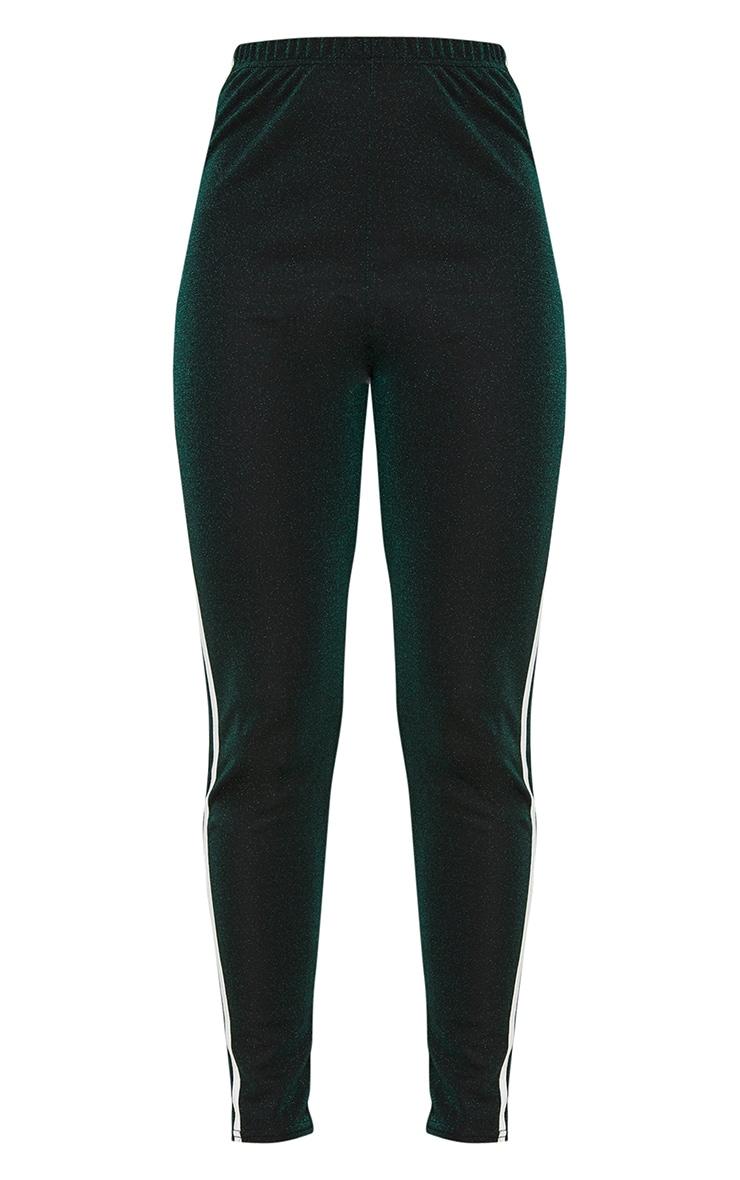 Khaki Glitter Track Stripe Leggings 3