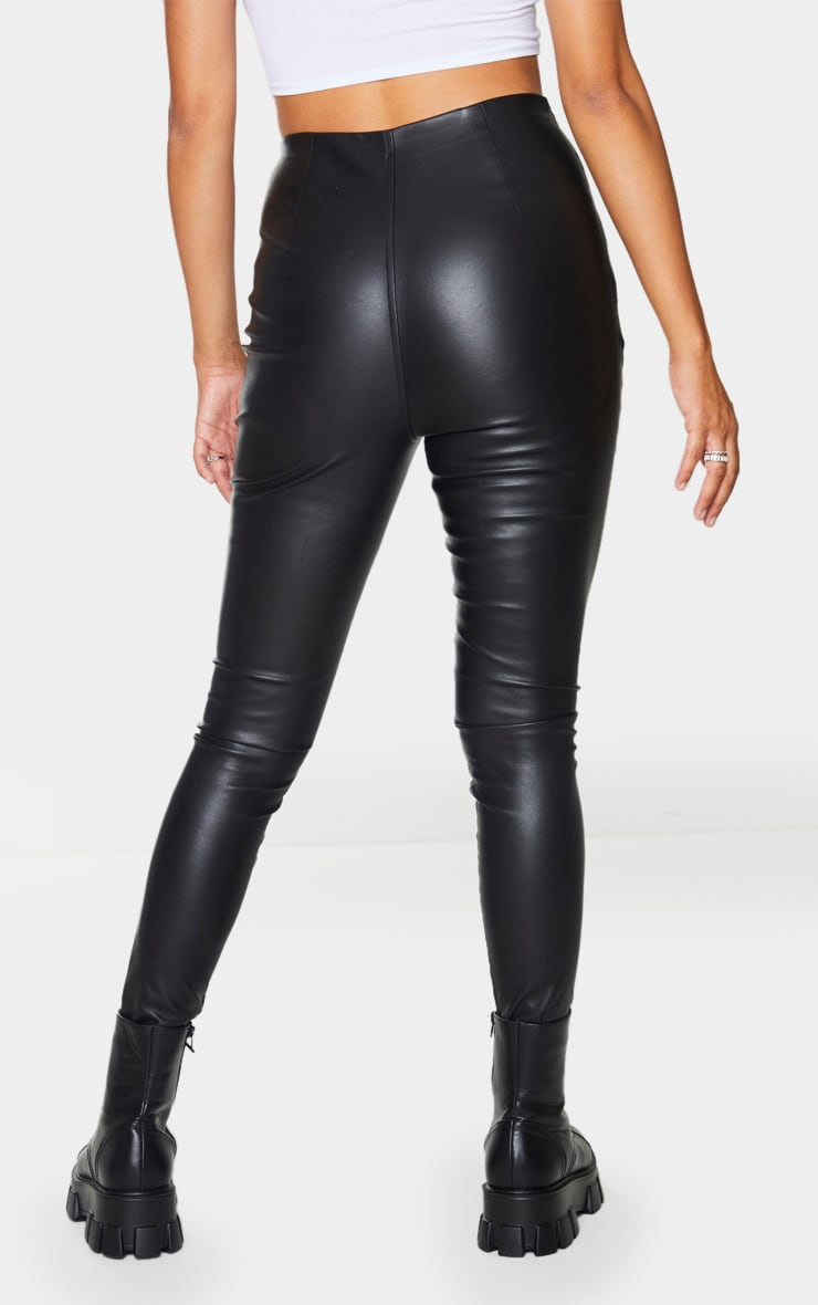 Black Faux Leather Stretch Leggings 3