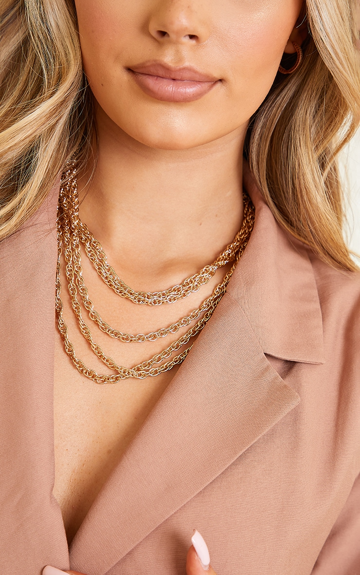 Gold Multi Chain Layering Necklace 2