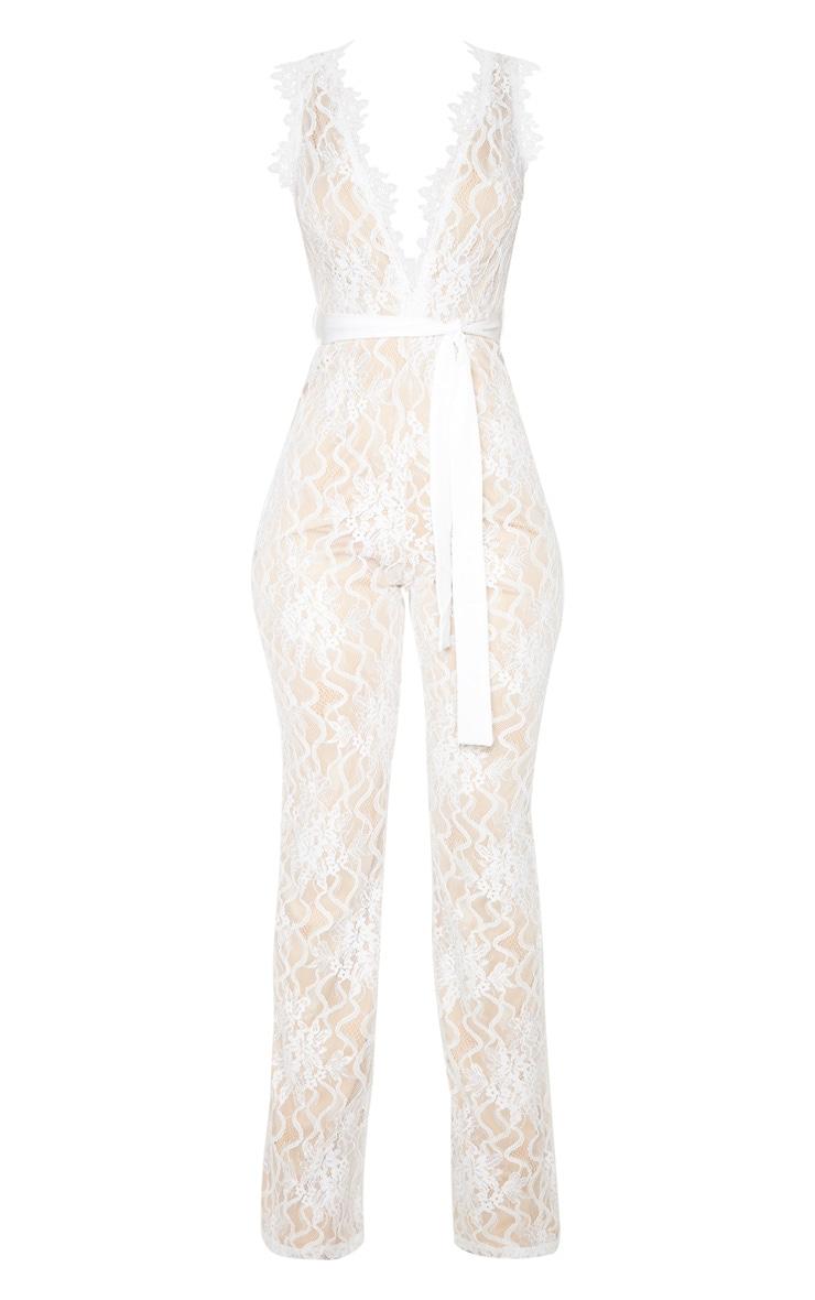 White Lace Contrast Plunge Jumpsuit 3