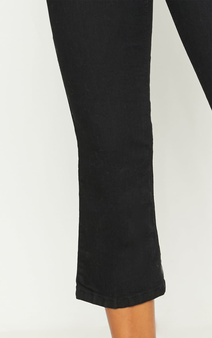 Black Centre Pleat Detail  Cropped Jeans 5