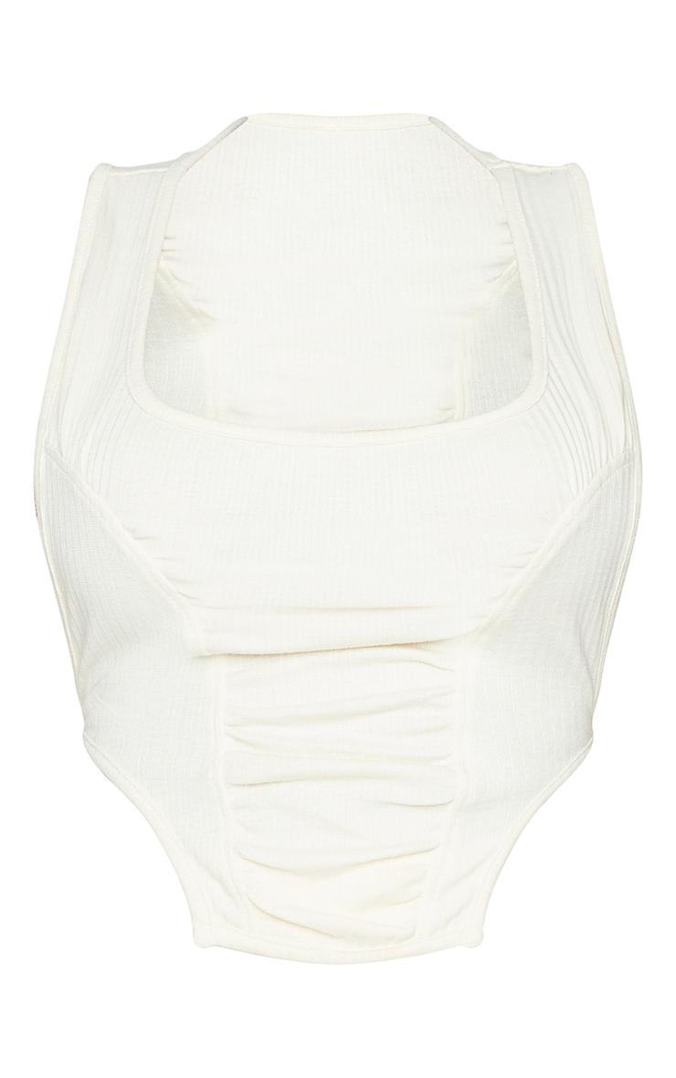 Shape Cream Rib Tie Back Seam Detail Crop Top 5