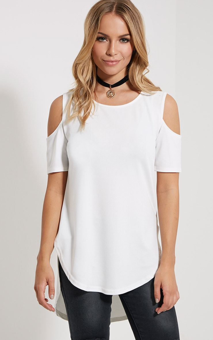 Eugene Cream Cold Shoulder Crepe Drop Hem Top 1