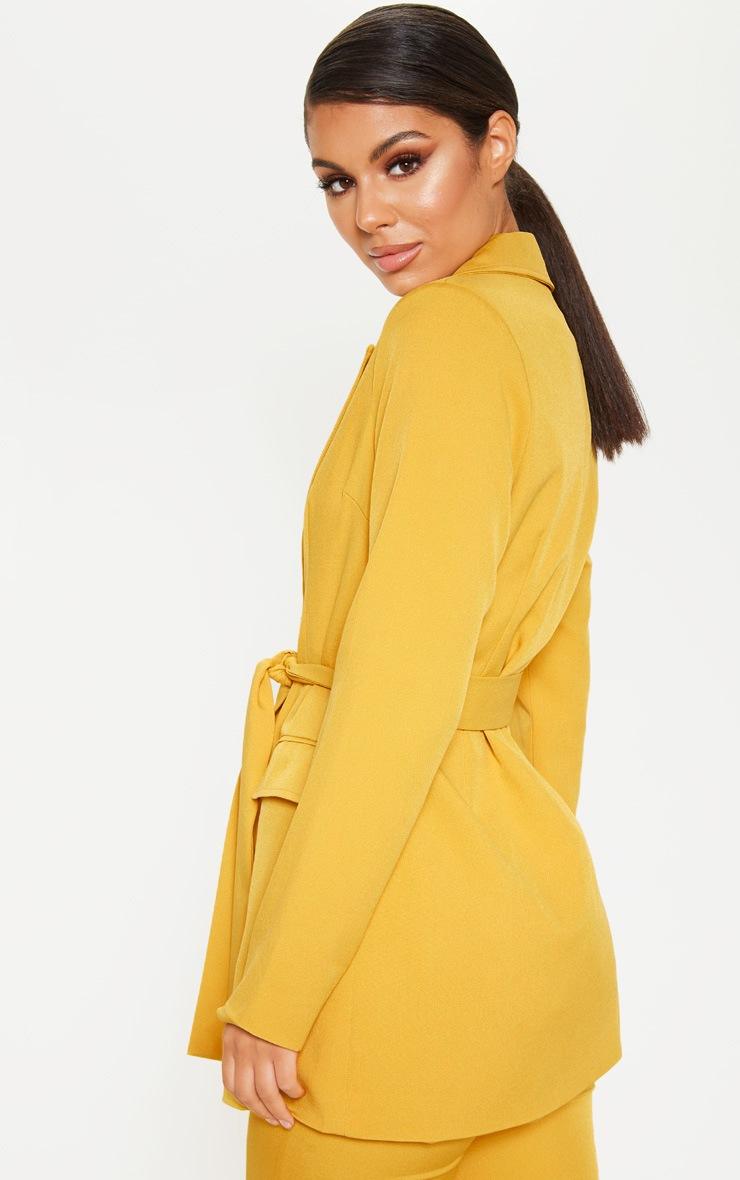 Mustard Belted Long Line Woven Blazer  2