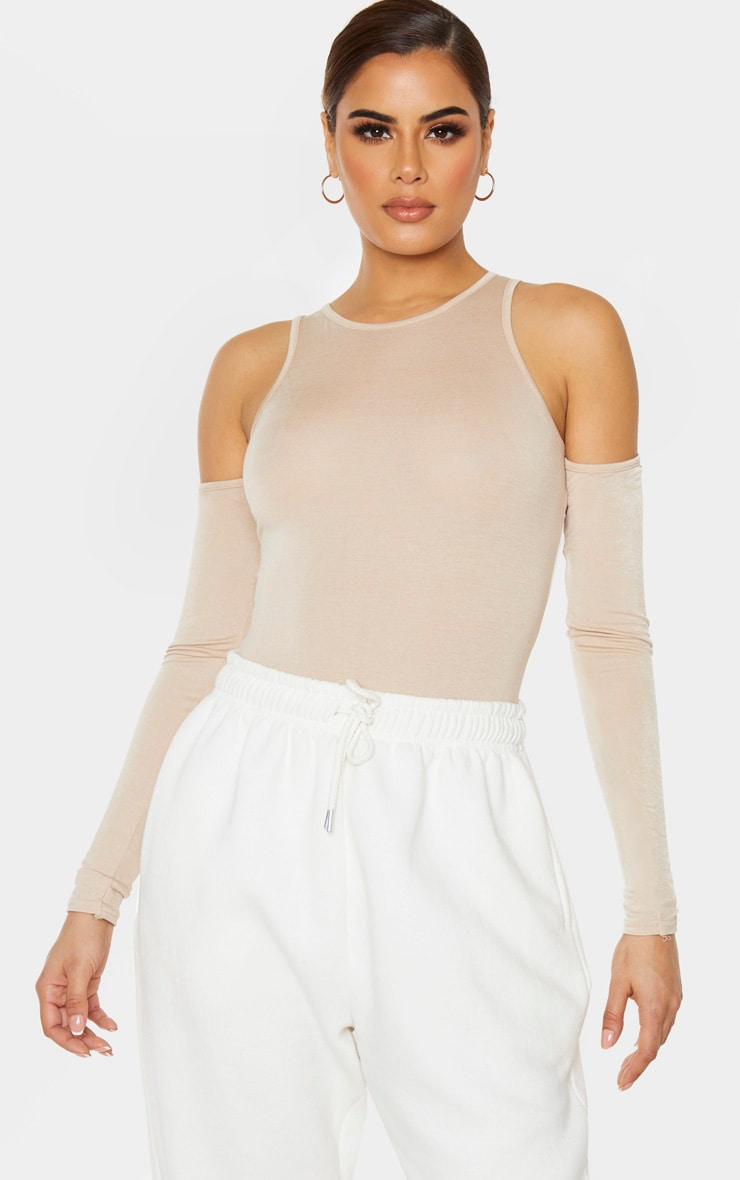 Tall Stone Jersey Cut Out Shoulder Bodysuit 1