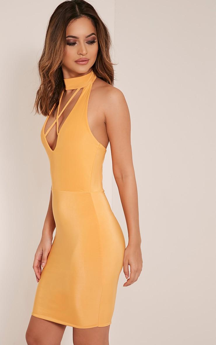 Gabby Pastel Orange Choker Cross Front Bodycon Dress 4