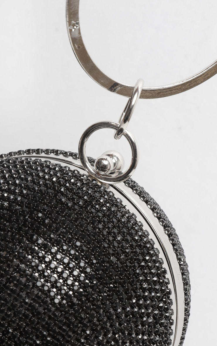 Black Diamante Tassel Sphere Clutch 3
