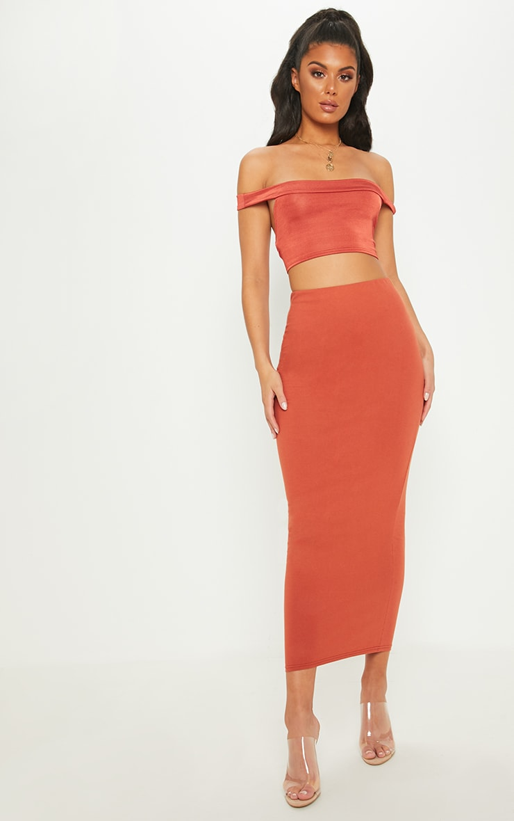 Brick Jersey Midaxi Skirt