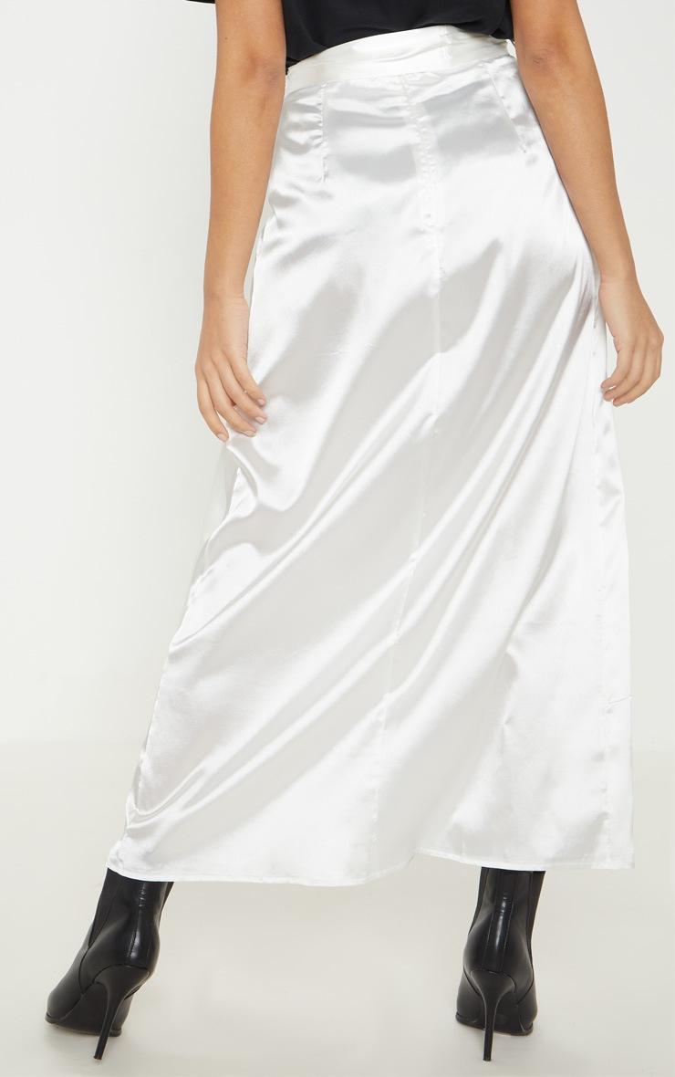 Petite White Satin Wrap Midi Skirt 4