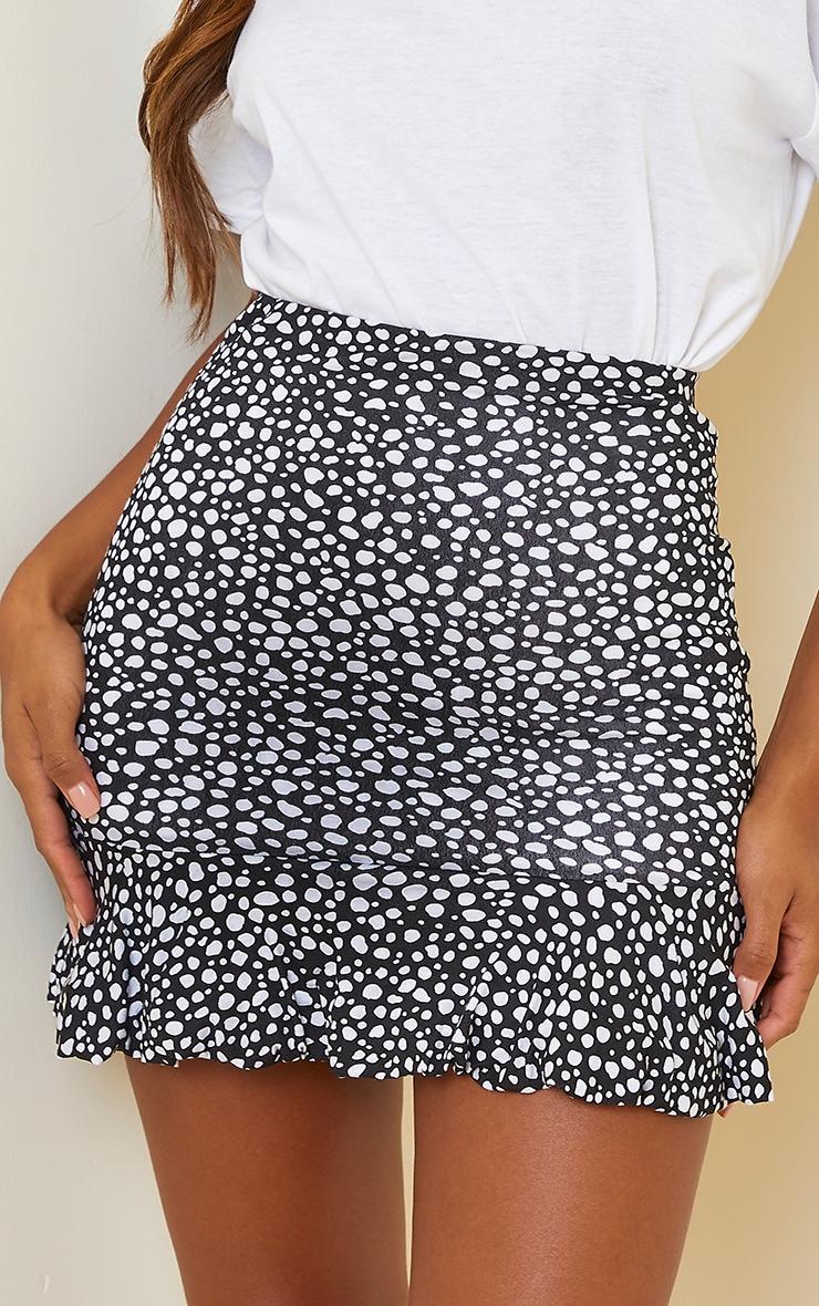 Black Dalmatian Jersey Printed Frill Hem Mini Skirt 5