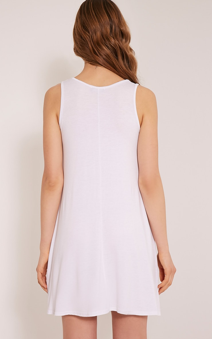 Basic White Sleeveless Swing Dress 2