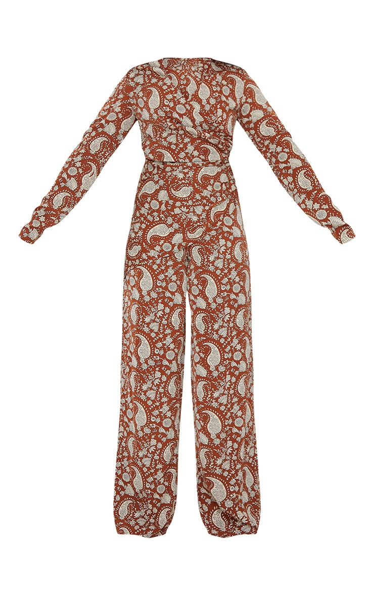 Rust Paisley Ruched V Neck Long Sleeve Jumpsuit 5