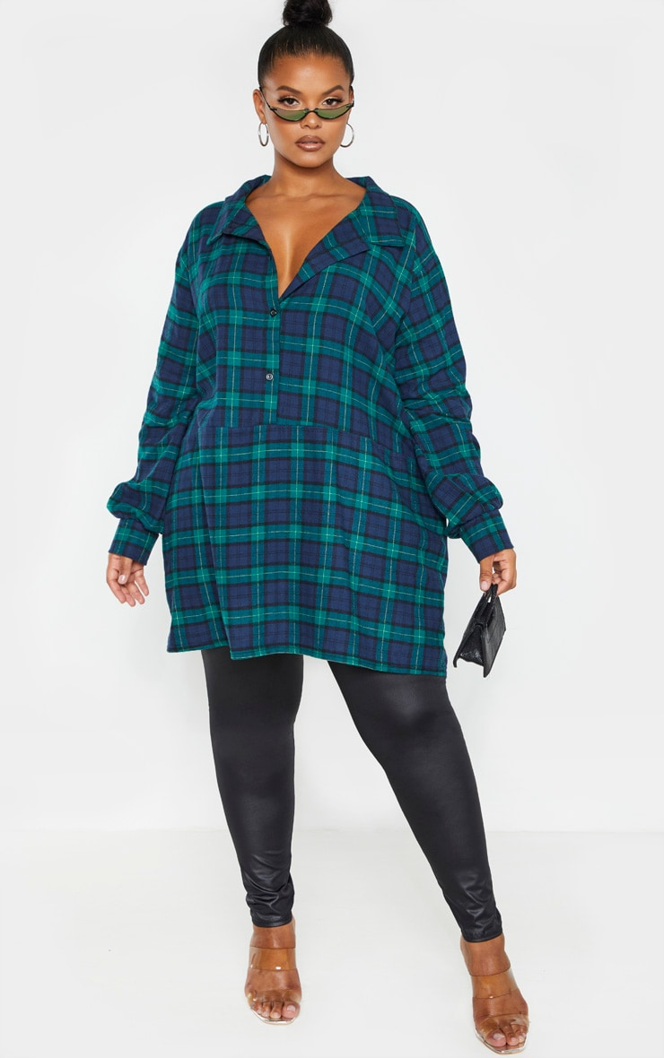Plus Green Oversized Check Shirt Dress  4