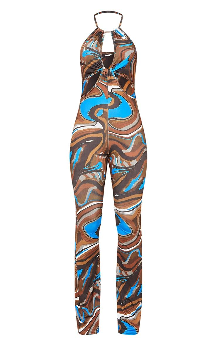 Chocolate Marble Print Slinky Halterneck Knot Detail Jumpsuit 5