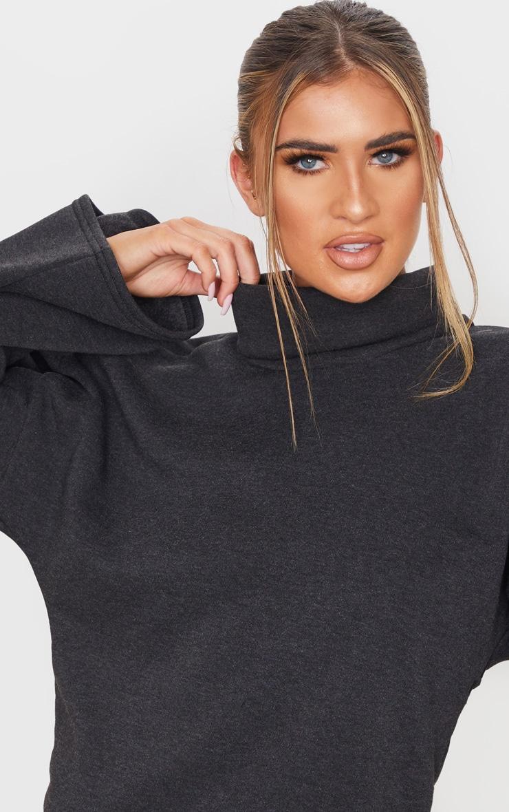 Charcoal Grey Fleece Roll Neck Sweater 5