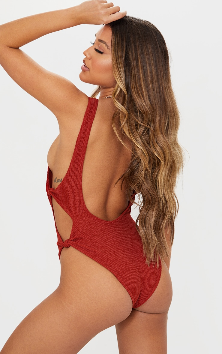 Brown Crinkle Cut Out Knot Side Swimsuit 2