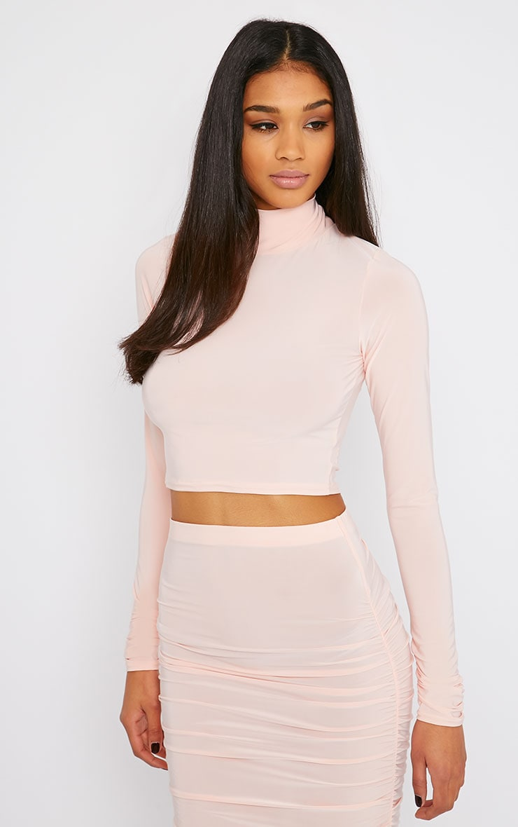 Saylor Pink Slinky Turtle Neck Crop Top 4