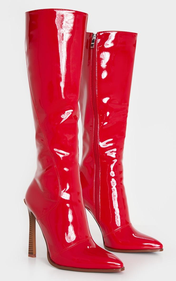 Red Knee High Vinyl Zip Boots 3