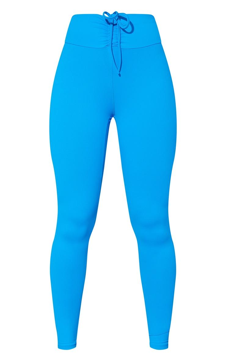 Blue High Waist Ruched Bum Gym Leggings 5