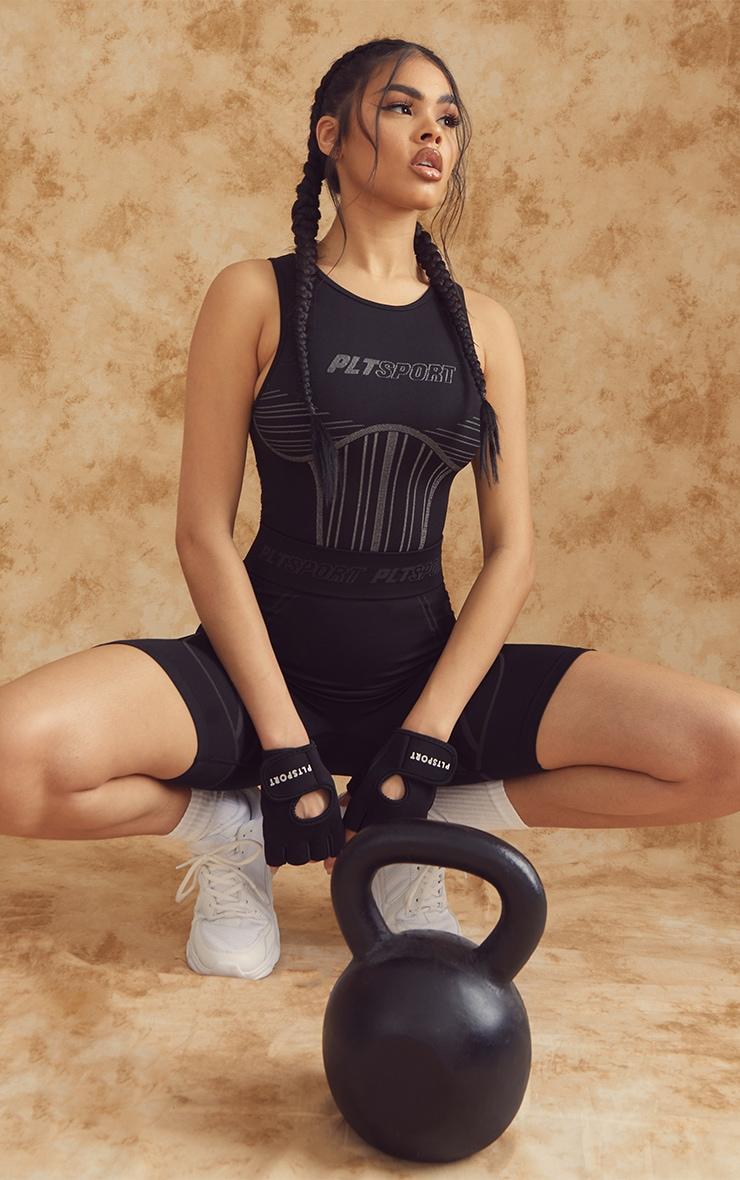 PRETTYLITTLETHING Black Seamless Contour Details High Neck Sports Bodysuit 3