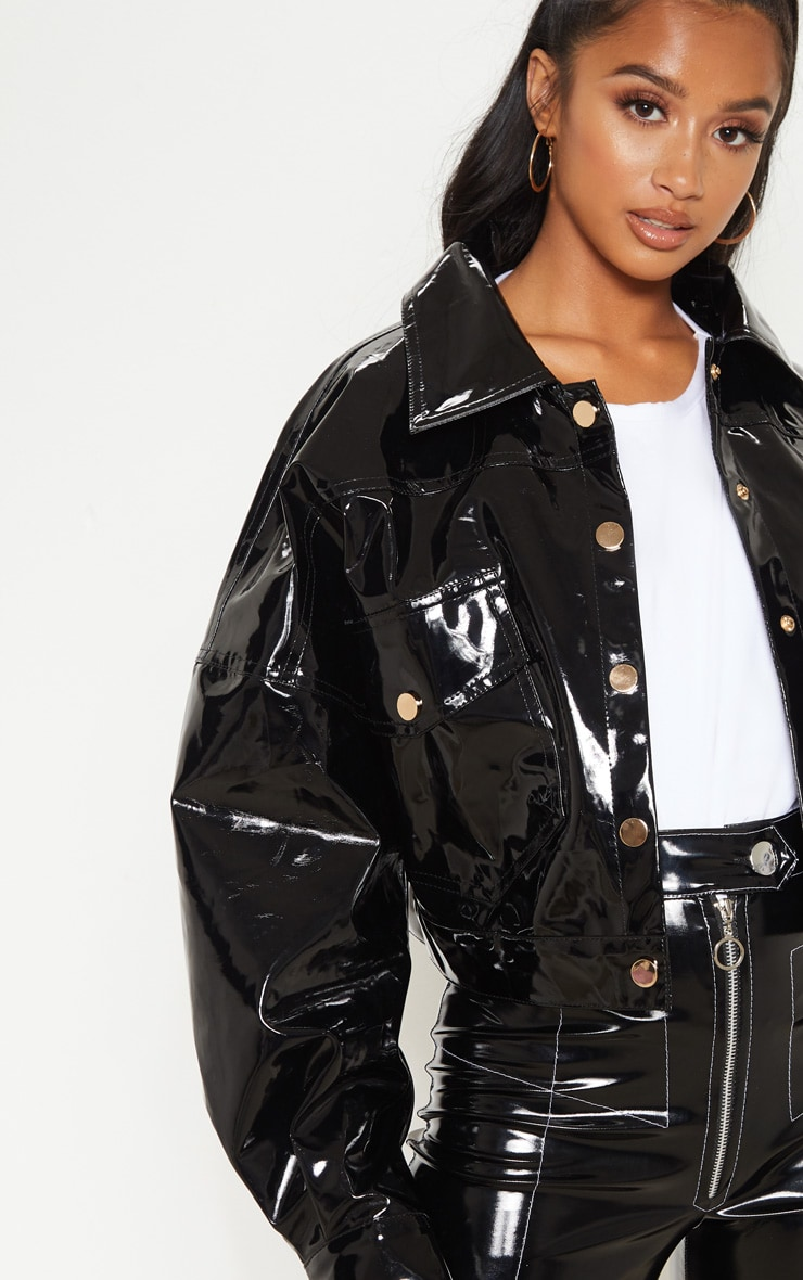 Petite Black Vinyl Cropped Oversized Trucker Jacket 5