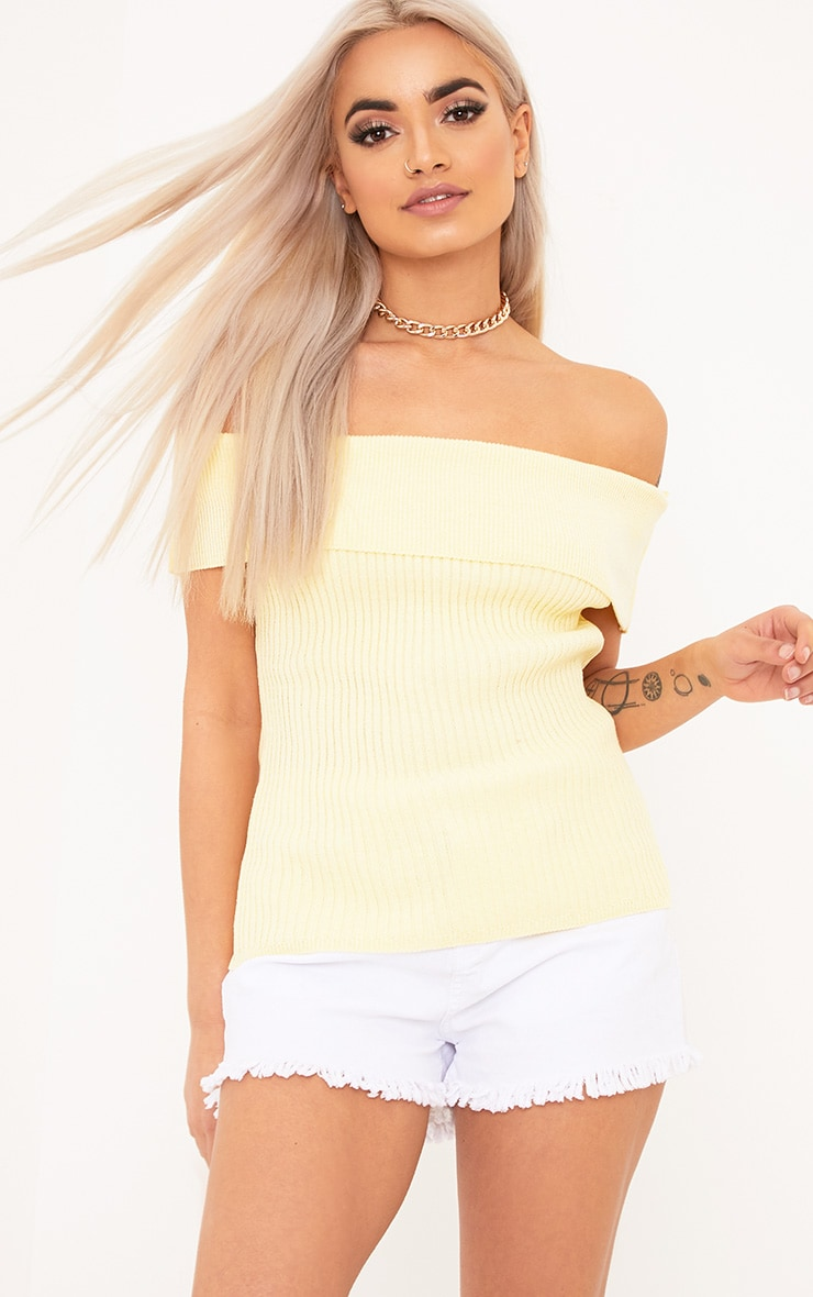 Adah Yellow Knitted Bardot Crop Top 1