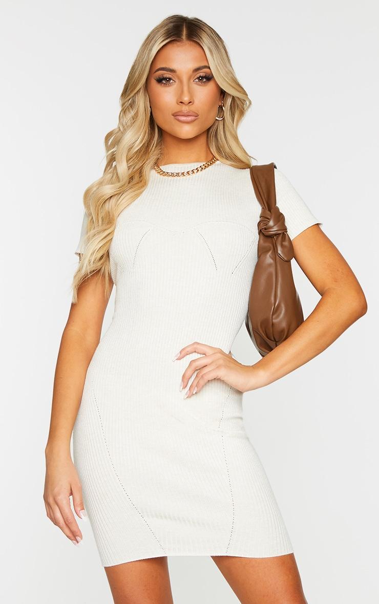 Cream Bust Detail Short Sleeve Knitted Mini Dress 1