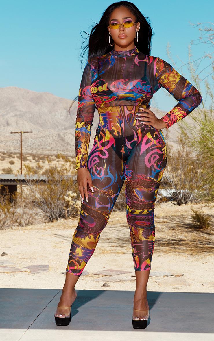 Multi Graffiti Print Jumpsuit 1