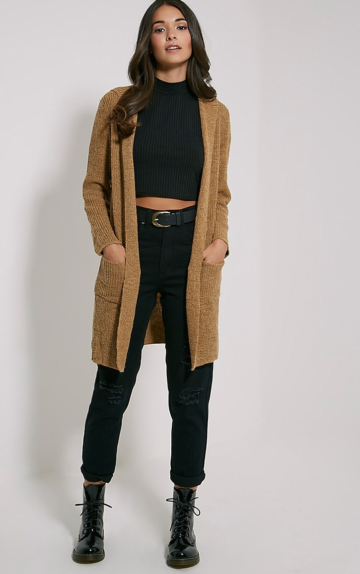 Selene Camel Knitted Hooded Cardigan 3