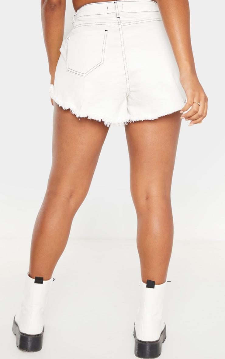 Shape White Distressed Denim Shorts 4