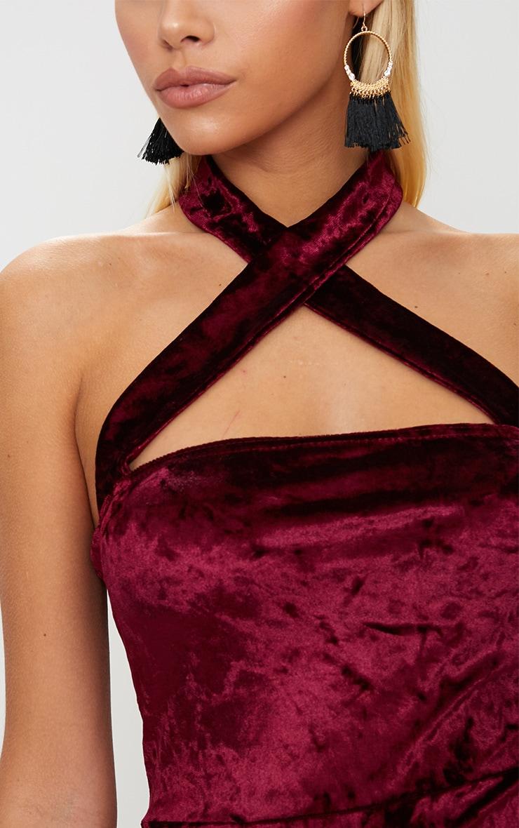 Burgundy Velvet Cross Neck Cut Out Bodycon Dress 5