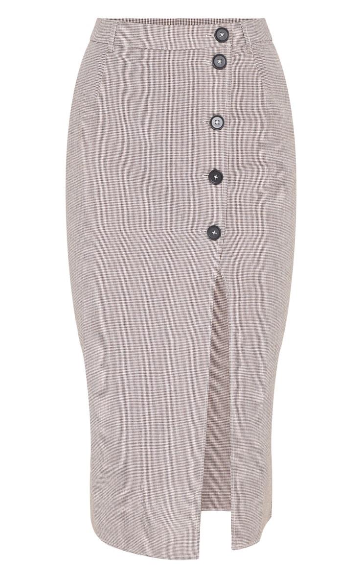 Brown Check Button Detail Midi Skirt  3