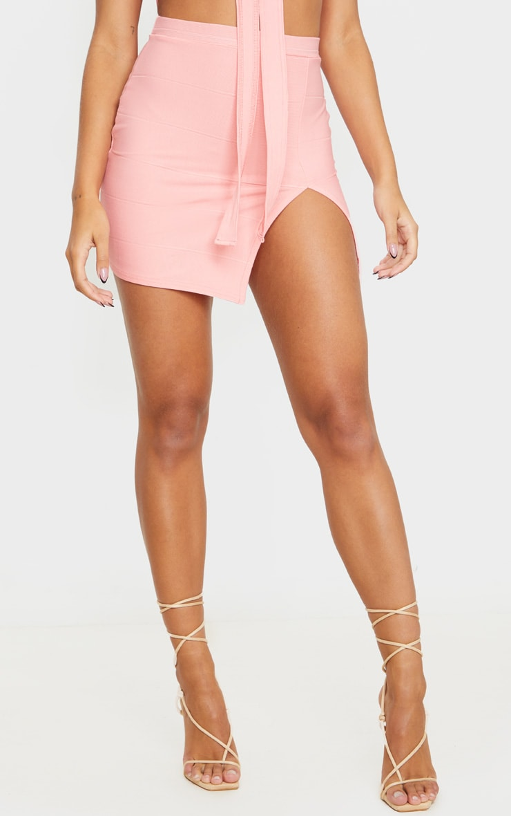 Peach Bandage Split Mini Skirt 3