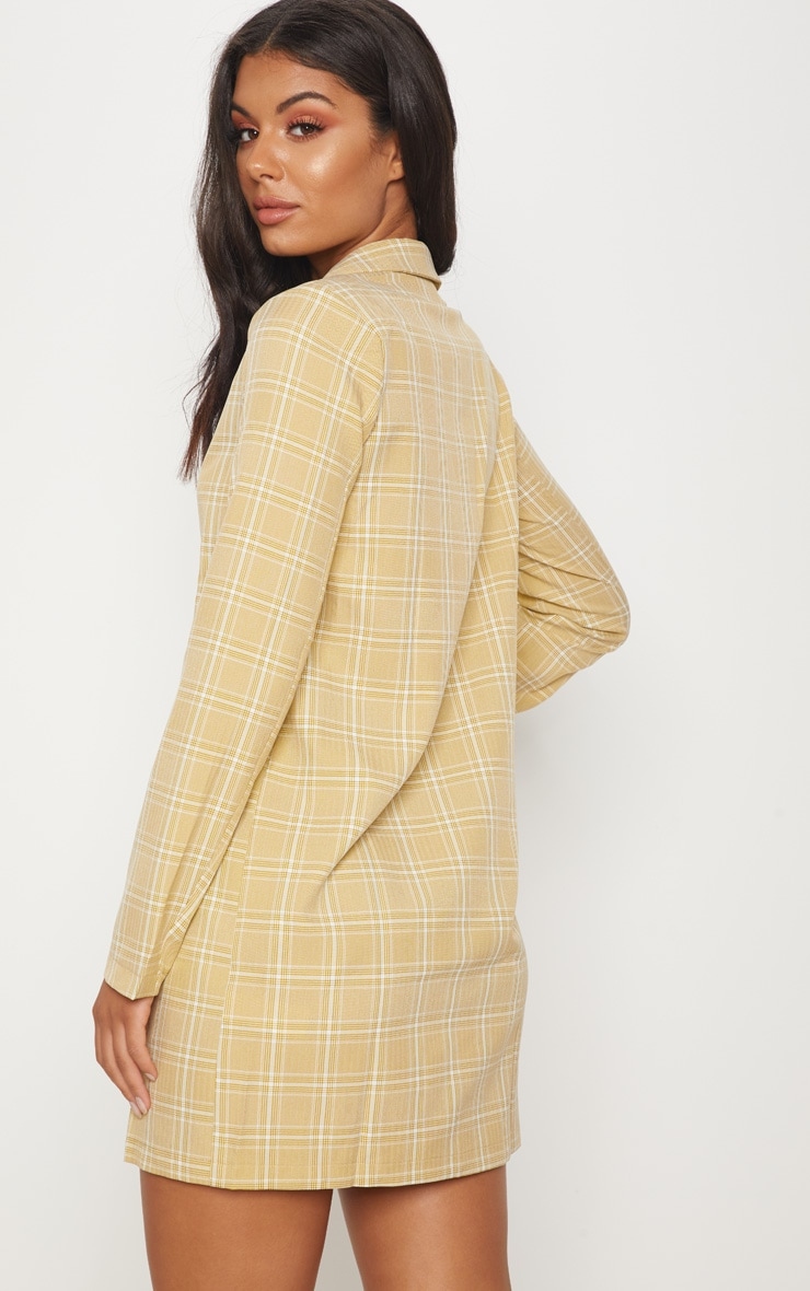 Beige Check Print Tortoise Button Blazer Dress 2